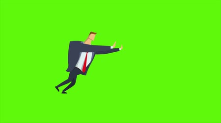 Businessman pushing something on green screen. Animated flat character. Seamless loop animation.