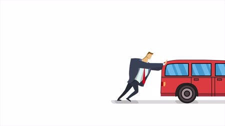 Man pushing and running after broken car. Flat animation, isolated on white background.