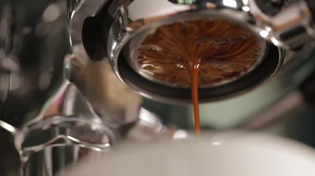 black coffee : coffee extraction with bottomless portafilter, professional espresso machine Stock Footage