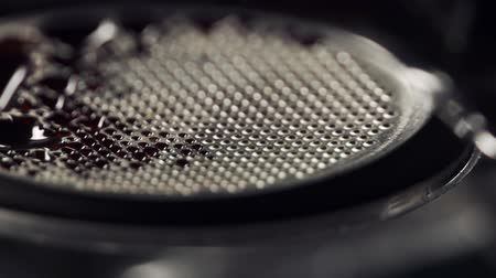 portafilter : espresso brewing with bottomless portafilter with extraction in 180fps slowmo Stock Footage