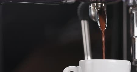 kahvehane : Close up of preparing espresso with professional coffee machine side shot, 4k  footage