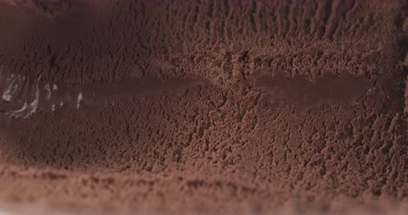dondurma : Slow motion of scooping chocolate ice cream