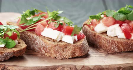 crostini : homemade bruschetta with cheese and vegetables