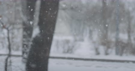desfocagem : Slow motion background of falling snow on town streets on a winter day