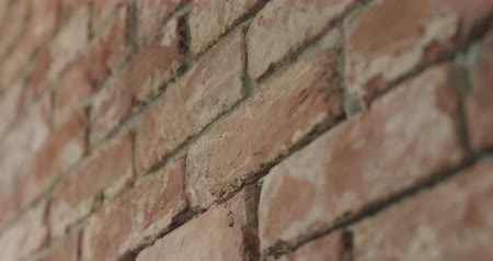 pedreiro : Slow motion closeup pan of filled seams on brick wall