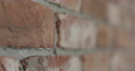 pedreiro : Slow motion handheld closeup pan of brick wall Vídeos