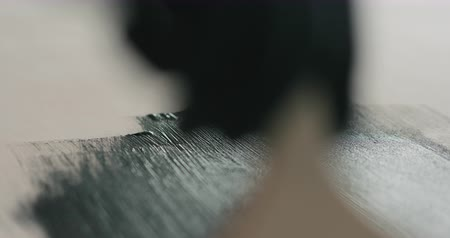 kontrplâk : Slow motion closeup painting plywood with brush with black paint