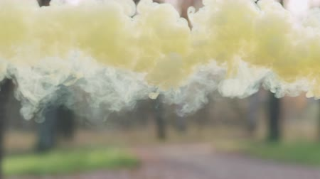 puffy cloud : Slow motion closeup yellow smoke in autumn park