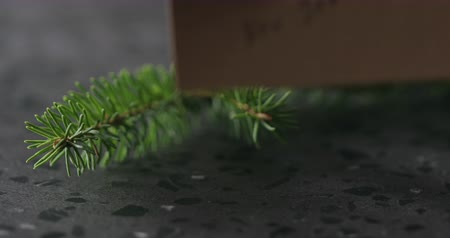szare tło : Slow motion man hand put happy new year card next to spruce twig