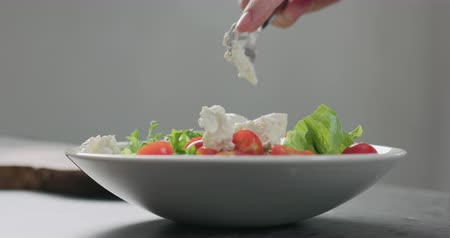 olivy : Slow motion add ricotta cheese to cherry tomatoes and frisee leaves into white bowl