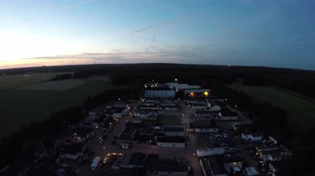equinox : Drone flight nightfall sundown on trailer park nightflight 4k