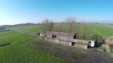 destroyed building : Aerial bird-eye view of old abandoned destroyed shed drone moving around old farm building gelding showing rusy roof and walls antique shed not in use anymore steady flight crisp blue sky 4k resolution Stock Footage