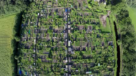 навес : Aerial or community gardens or allotments showing top down view or several at plots of land made available for individual non-commercial gardening or growing food plants shelters and huts for tools 4k