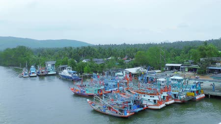 industrial fishing : Fishing boats stop for fishing at fishing village in Chumphon , Thailand