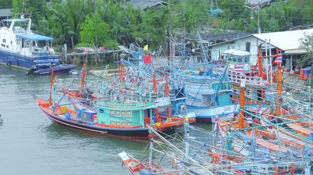 fisherman : Fishing boats stop for fishing at fishing village in Chumphon , Thailand
