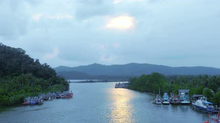 Sunset Rivers, mountains, sky ,Beautiful short in ,Chumphon,Thailand