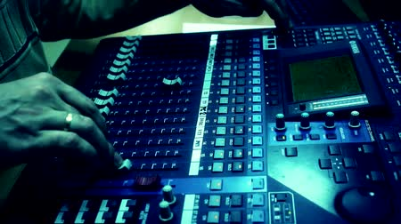 voz : man for the television audio mixer board  works Stock Footage
