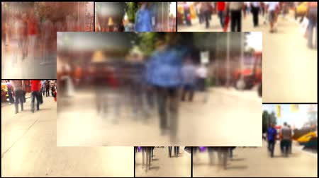 daha fazla :  people walking in the cities multi screen  Stok Video