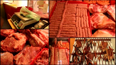 kasap : raw meat in the butchery shop market multiscreen