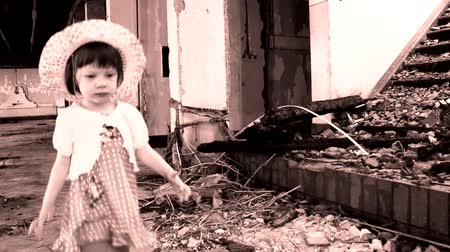 abandonment : abandoned cute  little girl in ruined house