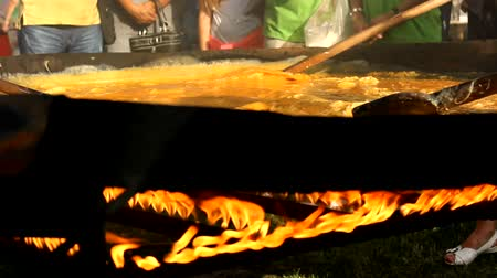 brulee : 1008 baked eggs  ,world record Stock Footage