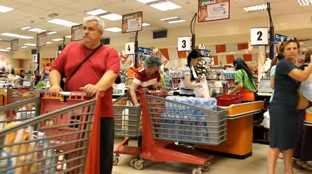 grocery : at the cashier market store place grocery 6 Stock Footage