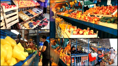 vitamina : multiscreen Vegetables fruits Market store place food  Stock Footage