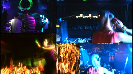 loud music :  music crowd fans audience  concert dj festival multi screen Stock Footage