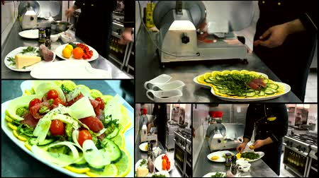salad : making salad in the kitchen beef carpaccio  multi screen  Stock Footage