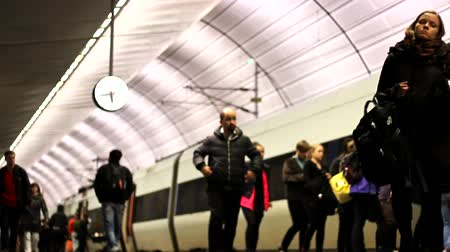 train station : Metro train station underground station people traveling 1920x1080 full hd footage