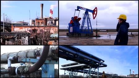 gas : industrial toxic pollution multiscreen collage Smoke From Broken Thermal Pipes