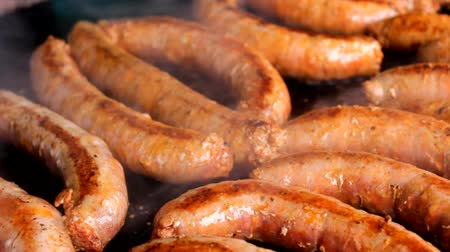 kiełbasa : Sausages grill on barbecue BBQ smoke