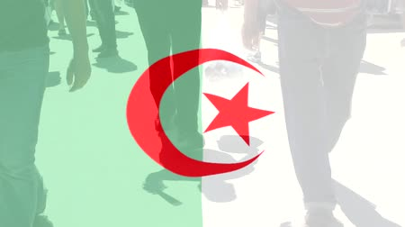 protestor : Algeria flag and People Stock Footage