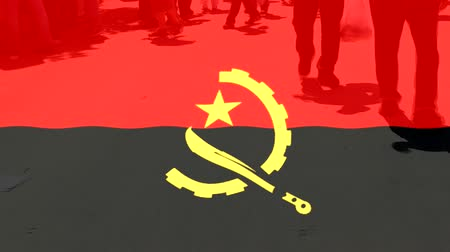 protestor : Angola flag and People Stock Footage