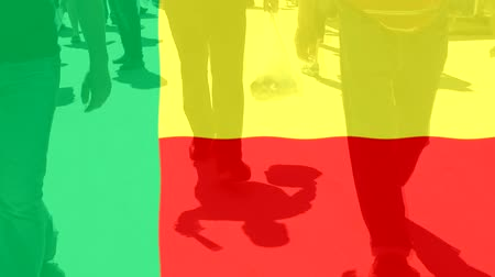 protestor : Benin flag and People Stock Footage