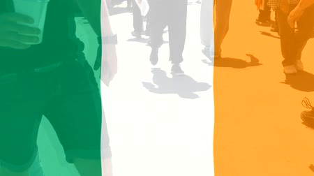 protestor : Ireland flag and People Stock Footage
