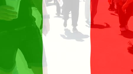 протест : Italy flag and People
