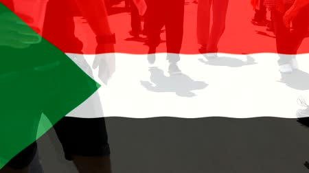 protestor : Sudan flag and People