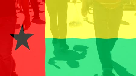 protestor : Guinea Bissau flag and People