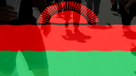 malawi : Malawi flag and People Stock Footage