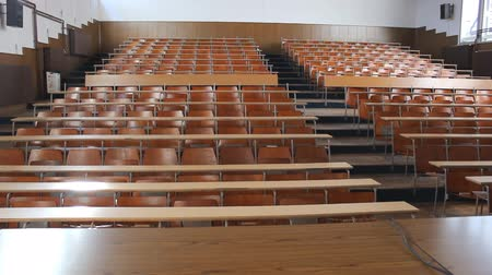 лекция : Empty college classroom University lecture hall Стоковые видеозаписи