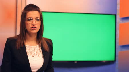 news tv : TV presenter ,Green Screen background