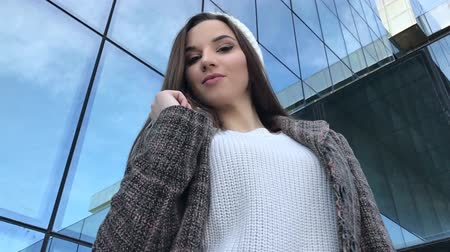 Young Beautiful fashion Girl ,Office building Stock Footage