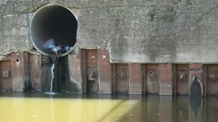 drain : Dirty water from pipe polluting the river