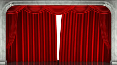 3D render clip of an opening red stage curtain. Animated mask added Vídeos