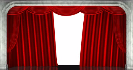 3D render clip of an opening red stage curtain. Animated mask added Stock mozgókép
