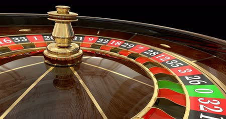 Casino roulette wheel loop. 3D render. Animated mask added