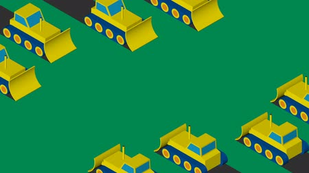 buldozer : Bulldozers clearing the area. Flat isometric design. Stok Video