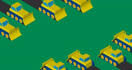 buldozer : Bulldozers clearing the area. Flat isometric design. Dostupné videozáznamy