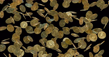 economics : Rain of vintage gold coins. 3D render Stock Footage